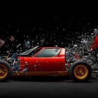 This amazing photographer has made a Lamborghini Miura SV EXPLODE