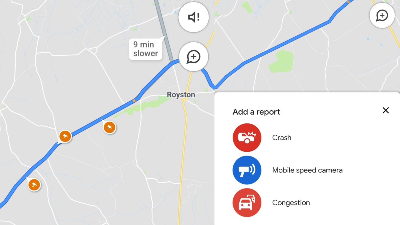 Speed cameras on Google Maps