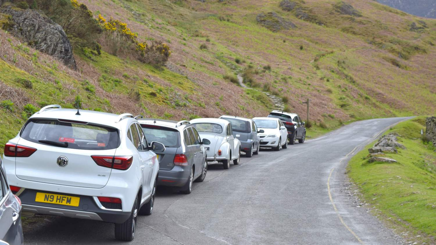 Cars parked in the Lake District