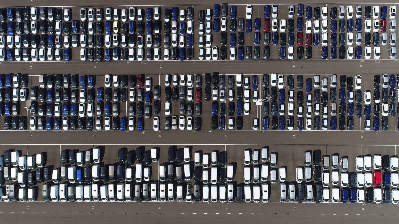 European car industry parking lot