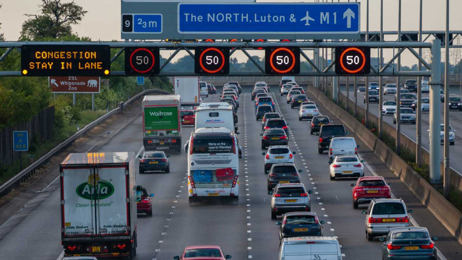 Congestion on the M1 motorway
