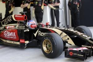 Romain Grosjean (Lotus) is coming out of the garage on Pirelli Winter hard tyres