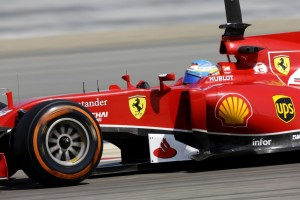 Fernando Alonso (Ferrari) on track with P Zero Orange hard tyres