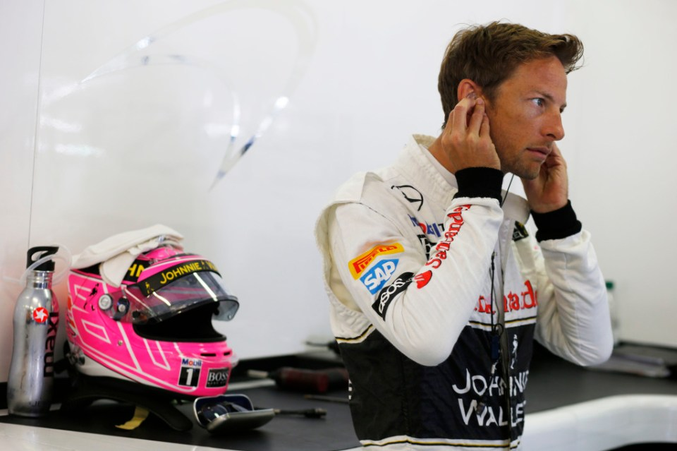 Jenson Button in the garage.
