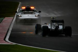Nico Rosberg Mercedes F1 W05 Hybrid follows the saftey car