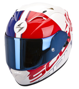 Scorpion Exo1200air Quarterback Pearl White-Red-Blue