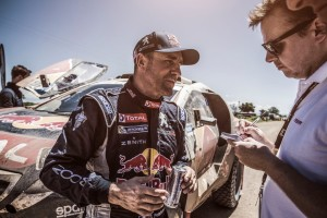 Stephane Peterhansel at the finish line on stage 12 of Rally Dakar 2015 from Termas Rio Hondo to Rosario Argentina on January 16th, 2015