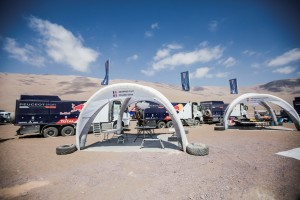 Team Peugeot Total service area on Iquique bivouac, Chile, on Rest Day of Rally Dakar 2015, January 10th, while the car competitors are racing in the marathon stage from Iquique to Uyuni, Bolivia.