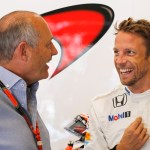 Ron Dennis with Jenson Button in the garage.