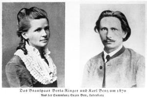 Das Brautpaar Bertha Ringer und Carl Benz im Jahre 1870.