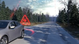 Slippery road alert, still from animation