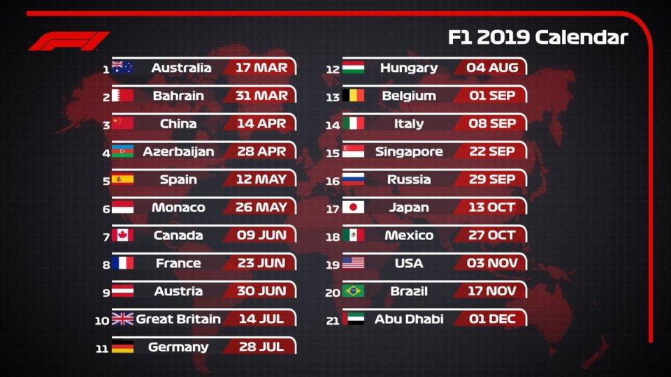 calendario F1 2019 ok