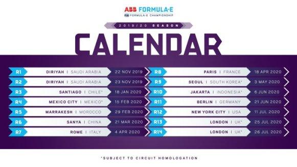 calendario formula E 2020