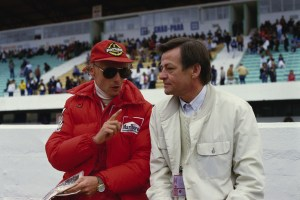 Niki Lauda and Hans Mezger, approx. 1984.