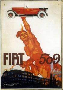 01_Manifesto pubblicitario, Centauro con la Fiat 509, Codognato, 1925