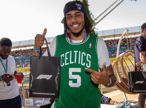 AJ Tracey with the F1® Fragrances bag @ the F1 Paddock Club™ in Silverstone during the Formula 1® Pirelli British Grand Prix_2 © Getty Images Antony Jones