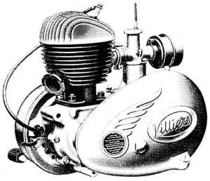 Villiersmotor 10D 122 cc. Boring 50 mm. Slag 62 mm. Carburator Villiers 3/4 enkelkabel. Naald No. 3.2 13/32 (10,3 mm) uit. Sproeiermaat .083. Opening contactpunten 0,35 mm. Voorontsteking 4 mm voor het bovenste dodepunt. Bougie Lodge H.14 (14 mm) kort of Champion J.10. Opening elektroden van de bougie: 0,5 mm. Mengsmering 1 deel olie S.A.E. 30 op 16 delen benzine, of 320 cc olie op 5 liter benzine. Versnellingsbakolie S.A.E. 140, in de winter S.A.E. 90 of bij hevige koude 80. Olie kettingkast S.A.E. 140, in de winter 90 of bij hevige koude 80. De versnellingsbak is van het constant-meshtype