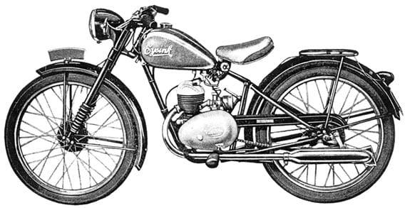 Eysink dienstfietsje van Nederlands fabrikaat uit 1950 met de Villiers 125 cc met enkele uitlaat