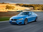 "© BMW AG 12/2013 / The all-new BMW M3 Sedan/Saloon, Yas Marina Blue Metallic. 19"" M Light Alloy Wheels Double-Spoke Style 437 M, Ferric Grey, Forged and Polished, M Carbon Ceramic Brake"
