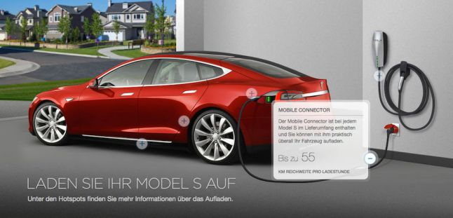 © Tesla / Laden Sie ihr Model S auf - Mobile Connector