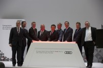 © Audi AG_Eroeffnung des Automobilwerks in Mexiko From left to right: Klaus-Peter Körner, Director of Production and Logistics AUDI MÉXICO S.A. de C.V., Viktor Elbling, German Ambassador in Mexico, Prof. h.c. Thomas Sigi, Member of the Board of Management of AUDI AG, Human Resources and Organization, Prof. Dr.-Ing. Hubert Waltl, Member of the Board of Management of AUDI AG, Production and Logistics, Ildefonso Guajardo Villarreal, Secretary of Economy of Mexico, Prof. Rupert Stadler, Chairman of the Board of Management, AUDI AG, Rafael Moreno Valle, Governor of the federal state of Puebla, Dr. Bernd Martens, Member of the Board of Management of AUDI AG, Procurement, Alfons Dintner, CEO AUDI MÉXICO S.A. de C.V.