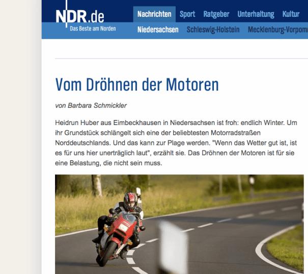 Der NDR berichtet auch zur Winterzeit vom Motorradlärm-Problem.