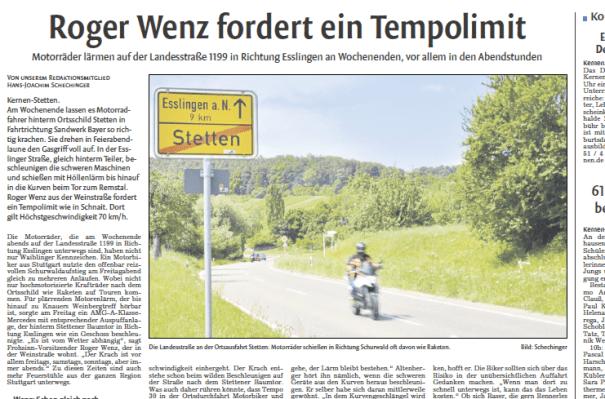 Motorradlärm auch in Stetten im Remstal - die Waiblinger Kreiszeitung berichtet.