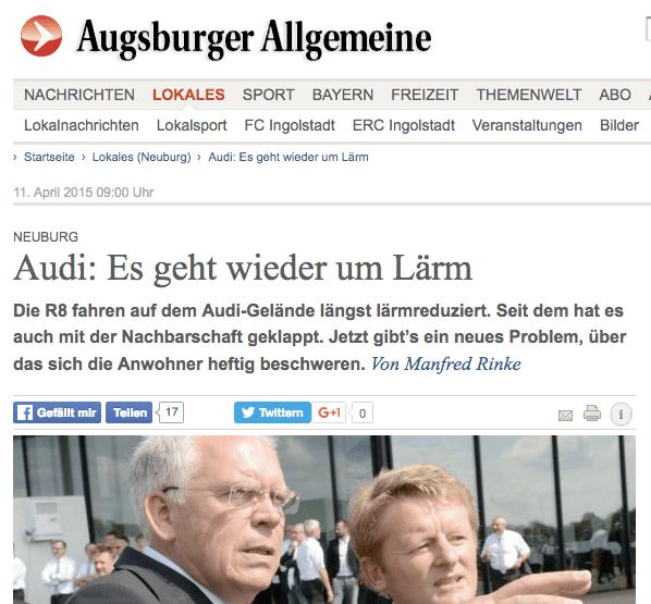 Screenshot aus der Augsburger Allgemeinen: Anwohnerbeschwerden über Auspufflärm bei den RS 2015 rufen Technikvorstand Hackenberg auf den Plan. Der war bestimmt ganz überrascht, wie laut seine Autos sind ;-)
