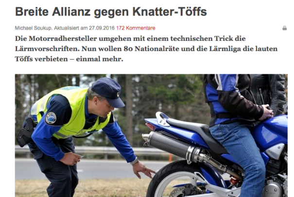 Die Basler Zeitung berichtet von einer briet angelegten Initiative gegen Motorrad- und Sportwagenlärm.