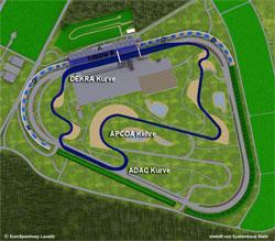 2005-heute Länge: 3,200 km (mit Schikane in Turn 1: 3,240 km) kurze Strecke für Motorräder verschiedene Streckenführung der Gegengeraden vor der ADAC-Kurve