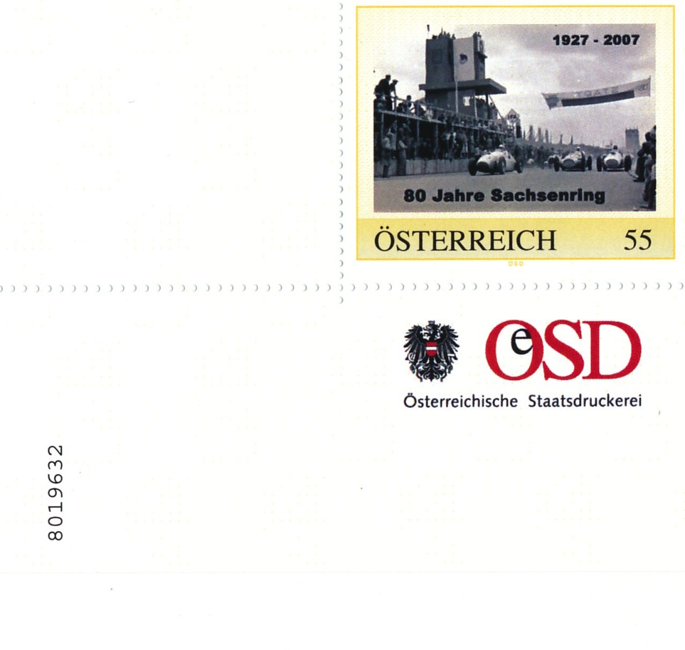 Briefmarke – 80 Jahre Sachsenring