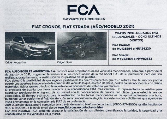 Recall Fiat Cronos Fiat Strada motorweb 1