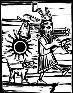 Fig. L. Carte de tarot représentant un galvaudeux et son chien joyeux.