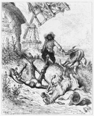 Fig. D. Don Quixote de la Mancha refusant de jeter son bonnet par dessus les moulins. Museo del Loco.