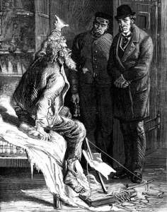 Fig. A. Un huissier et un pousse-cul conduisent un voleur de pain. Musée Jean Valjean.