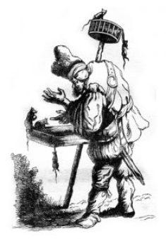Fig. C. Bonimenteur prosélyte frappant à la porte. Allégorie.