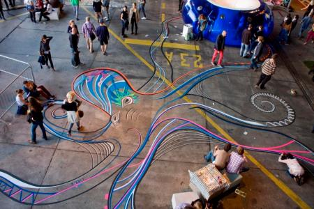 Tape Art by Tape Over Berlin Festival: Funky Octopus Total. Bild: LiaMia, Tape Over
