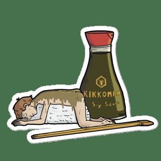 Sticker sushi humain