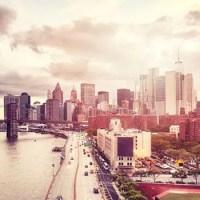 Cloudy dramatic city skyline of New York