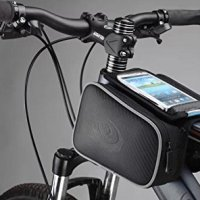 "Allnice® 5"" 5.5'' Shockproof Mountain Bike Road Bicycle Cycling Front Frame Bag Tube Pannier Saddle Bag Double Pouch for iPhone 5S 5 4S Samsung Galaxy S3 S4 Note HTC One and other Below 5.5 inch Cellphone- Black"