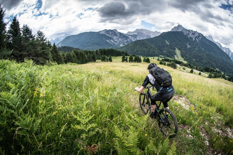 Donald riding Alpine meadow in Slovenia during the Shimano XTR launch, part of our favourite memories of 2018. One of our highlights of 2018.