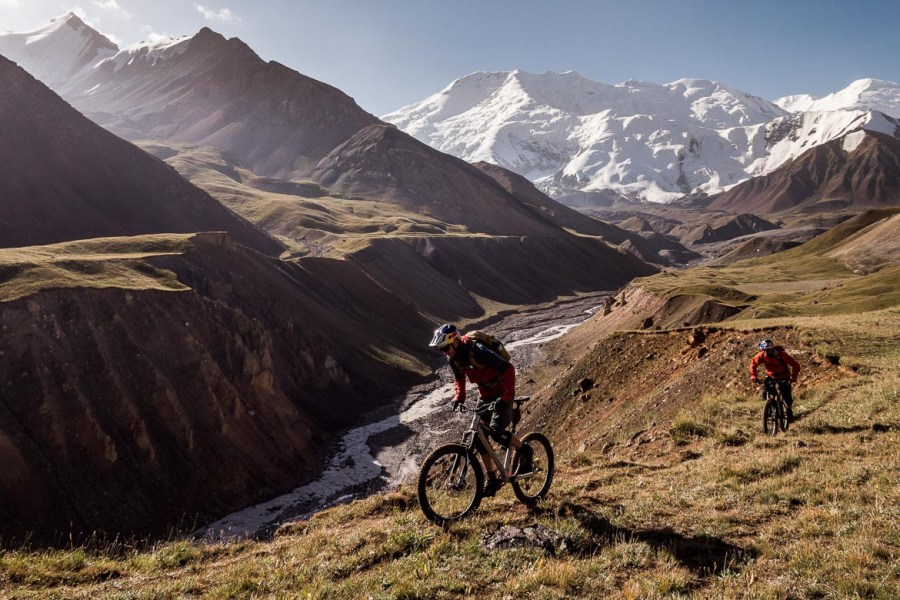 Looking over a canyon whilst Mountain biking in Kyrgyzstan