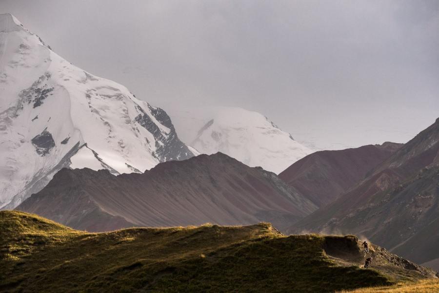 Dusty trails whilst Mountain biking in Kyrgyzstan.