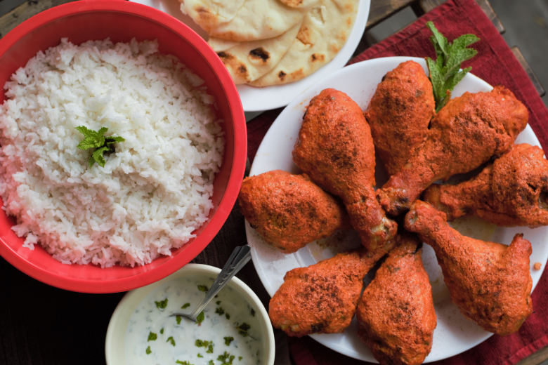 Baked Tandoori Drumsticks with Coconut Rice   Mountain Cravings