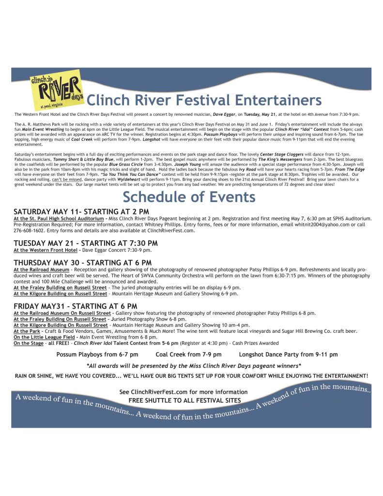 Clinch River Days schedule page 1