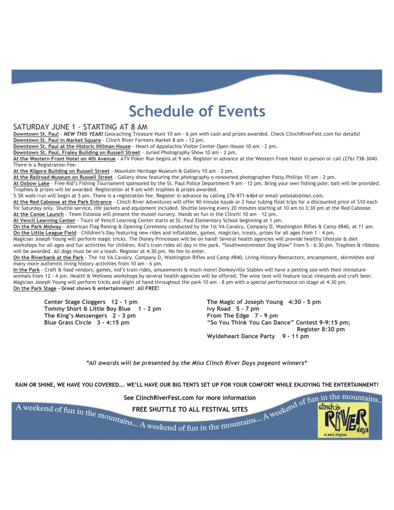 Clinch River Days schedule page 2