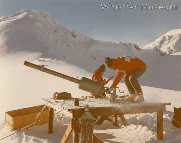 Setting up the Avalauncher artillery gun, to clear the upper Harmony Zone. 1970s.