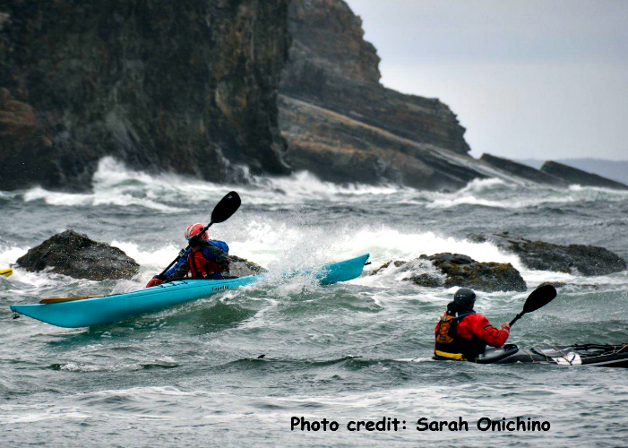 A sea-kayaking session off Terra Nova, Newfoundland. Part of the Atlantic Paddle Symposium organized by KEEN grantee Paddle Canada.