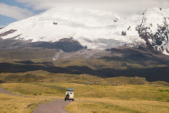 Driving through the Antisana Reserve to approach the south face. STEVE OGLE PHOTO.