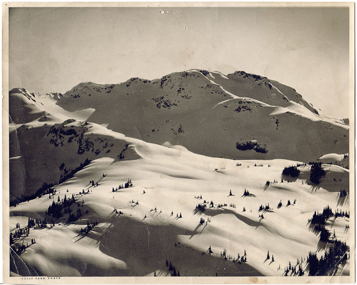 A birds-eye view of Whistler Mountain before ski lifts, early 1960s. Courtesy Whistler Museum.